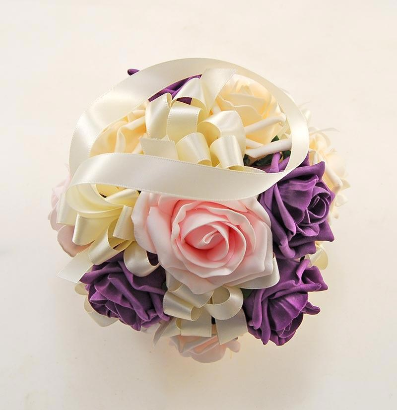 Bridesmaids Purple Cream Pink Foam Rose Pomander Flower Ball