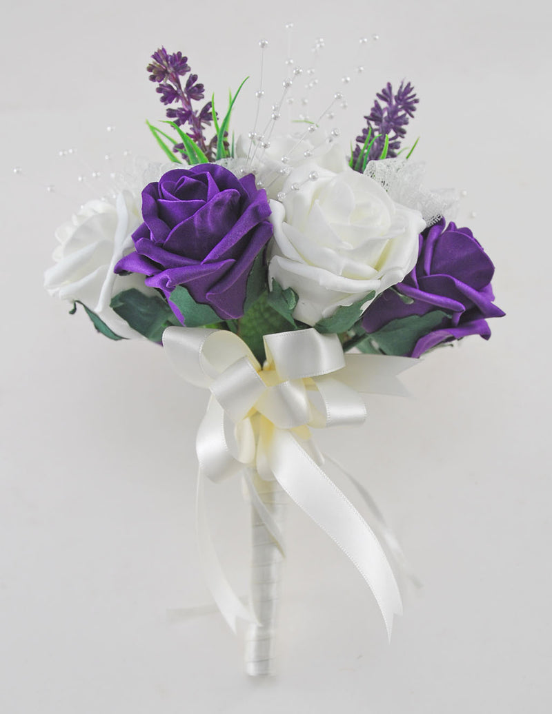 Bridesmaids Purple, Ivory Rose Wedding Bouquet with Lavender & Lace