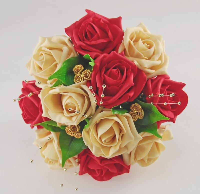 Bridesmaids Red & Gold Foam Rose Pearl Wedding Posy