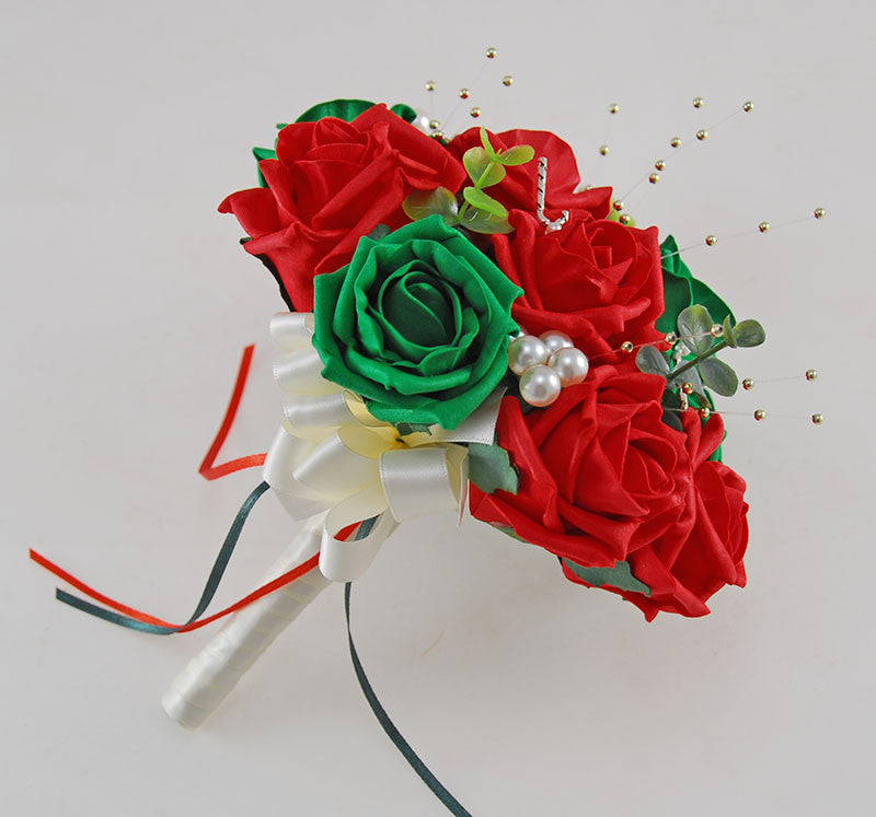 Bridesmaids Red, Green Artificial Rose & Pearl Christmas Wedding Posy