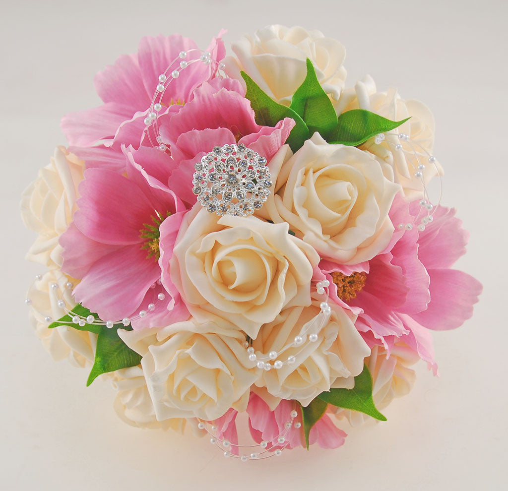 Bridesmaids Wedding Posy With Silk Pink Daises Cream Roses
