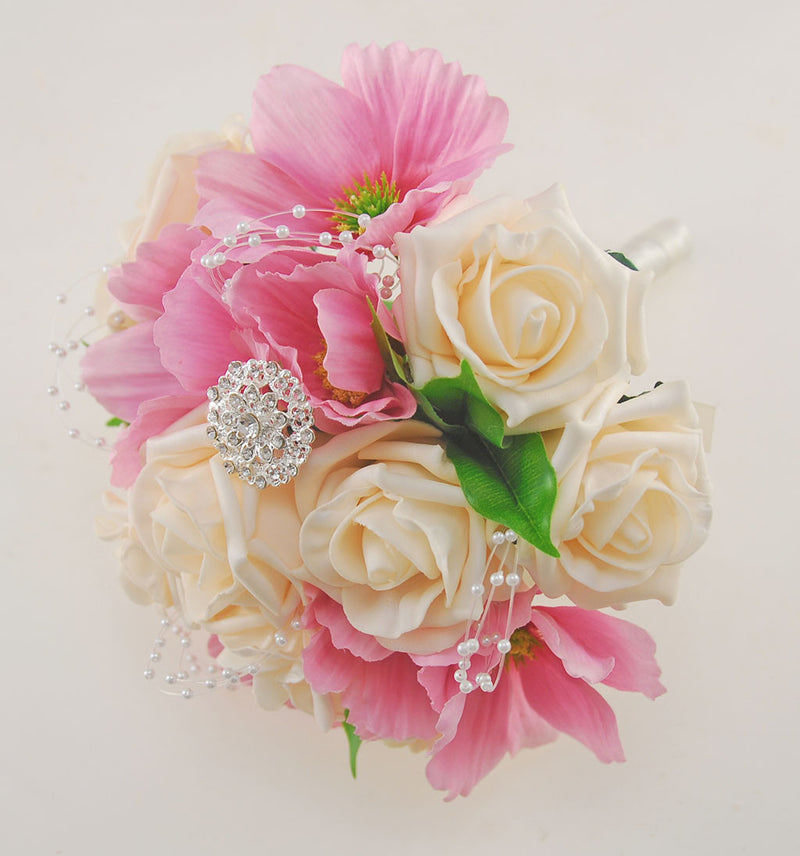 Bridesmaids Wedding Posy with Silk Pink Daises & Cream Roses