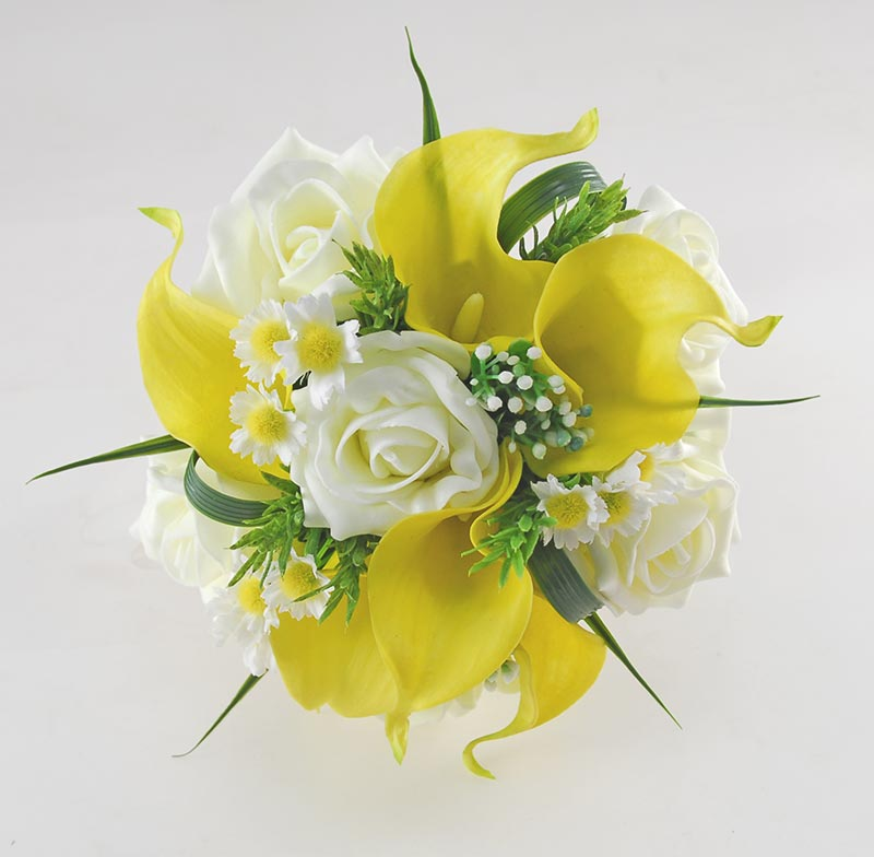Bridesmaids Yellow Calla Lily, Ivory Rose & Silk Daisy Wedding Posy