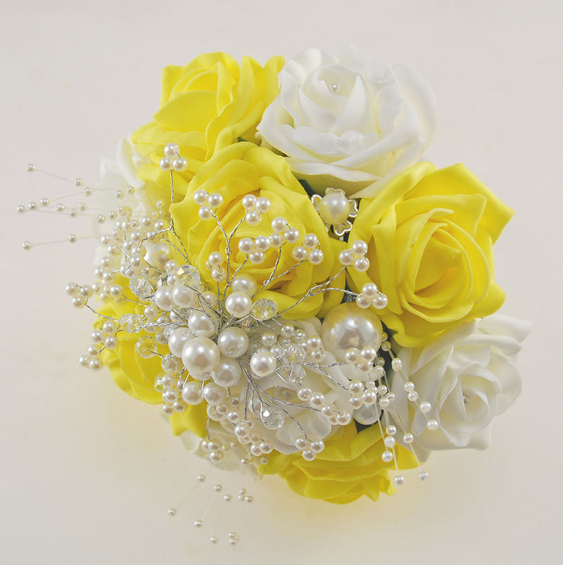 Bridesmaids Yellow & Ivory Foam Rose Wedding Bouquet with Pearl & Crystal Spray