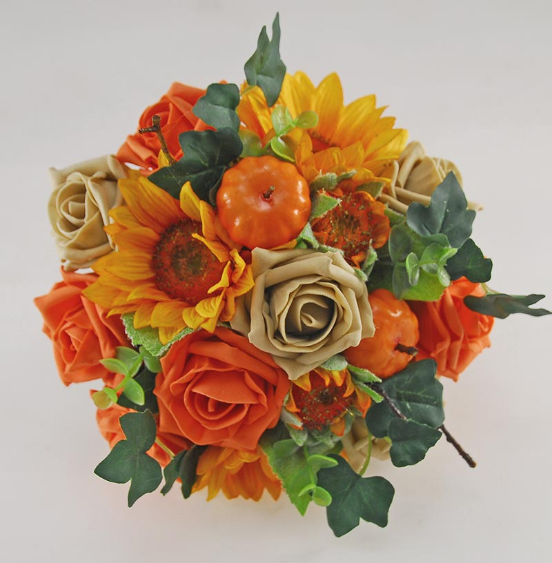 Bridesmaids Autumnal Orange Pumpkin, Rose & Sunflower Wedding Posy