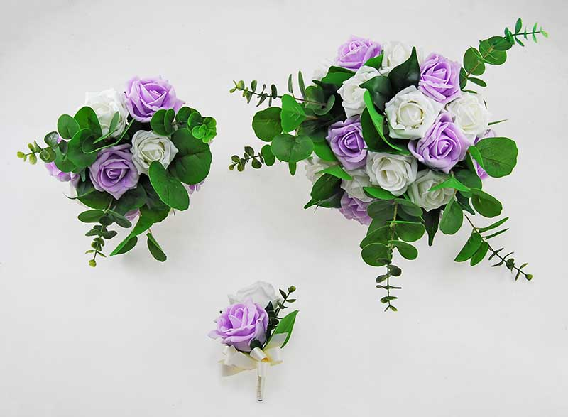 Bright Lilac & Ivory Foam Rose, Green Eucalyptus Dior Wedding Package