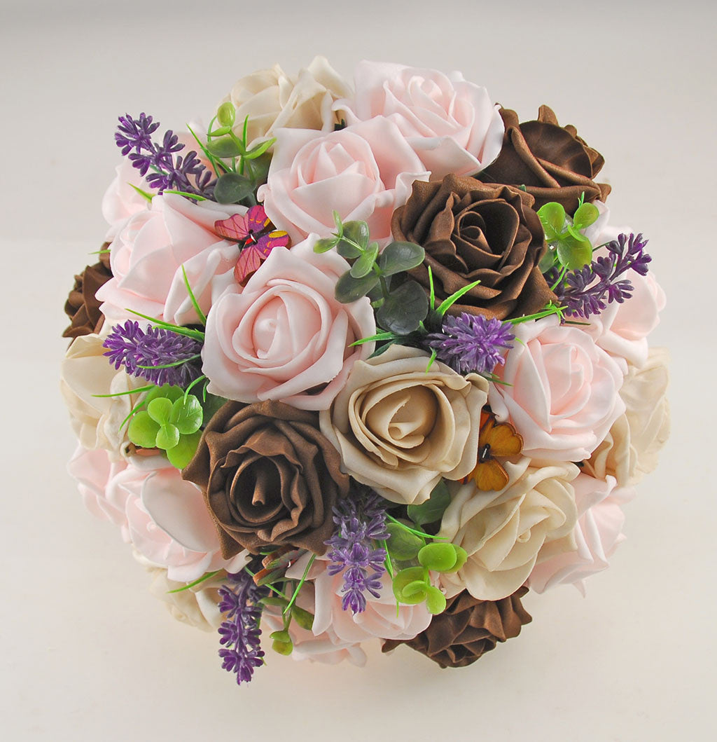 Light Pink, Mocha, Brown Rose, Butterfly and Lavender Wedding Flower ...