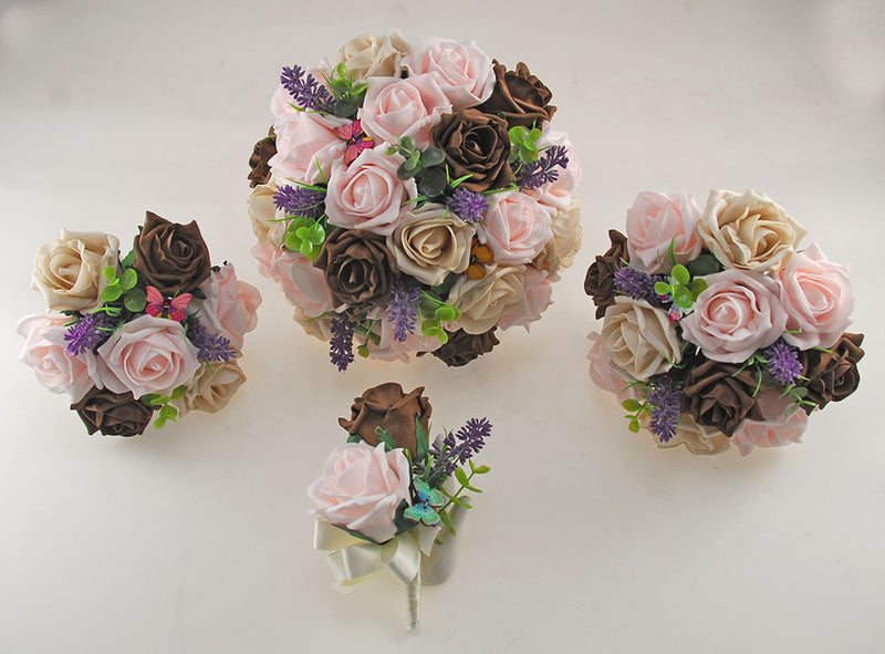 Light Pink, Mocha, Brown Rose, Butterfly and Lavender Wedding Flower Package with Brides Bouquet, Bridesmaids Posy, Flower Girl Posy, Grooms Buttonhole