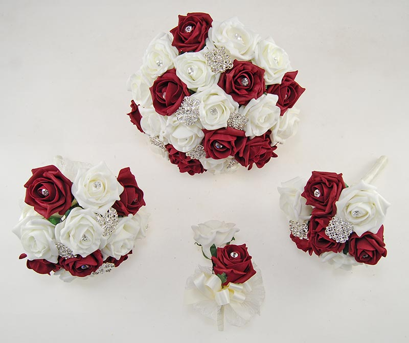 Burgundy & Ivory Foam Rose Classic Diamante Brooch Wedding Flower Package