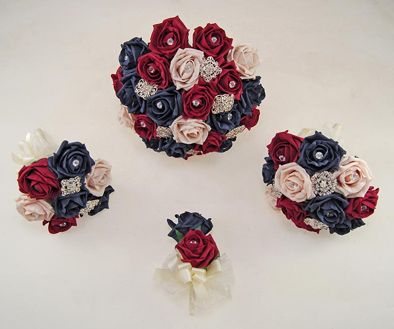 Dark Navy, Burgundy & Pink Mocha Rose Classic Diamante Brooch Wedding Flower Package