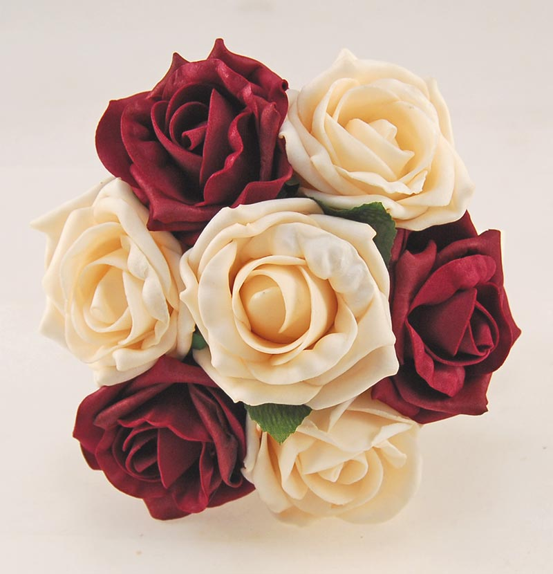 Burgundy & Cream Artificial Foam Rose Flower Girl Wedding Posy