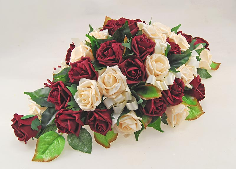 Burgundy & Cream Artificial Foam Rose Top Table Wedding Arrangement
