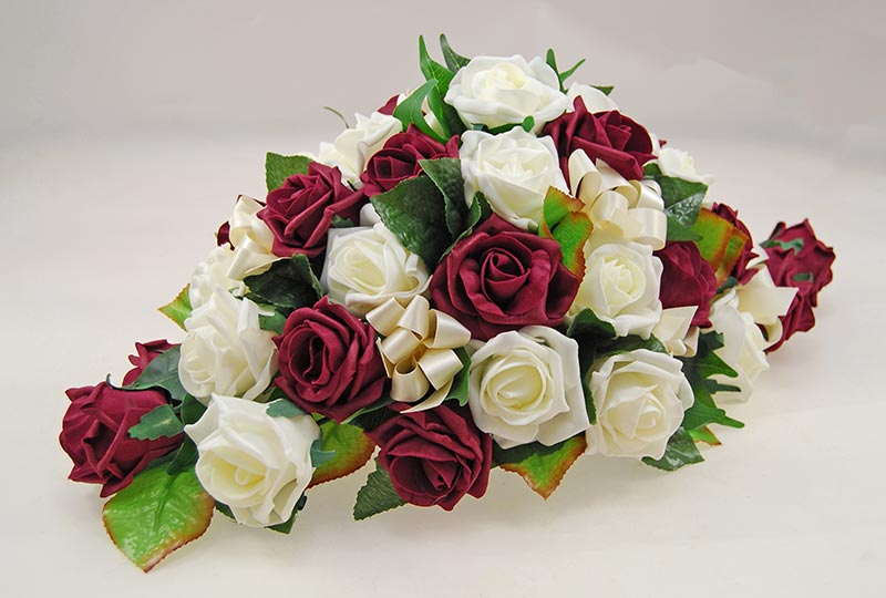Burgundy & Ivory Artificial Rose Top Table Wedding Arrangement