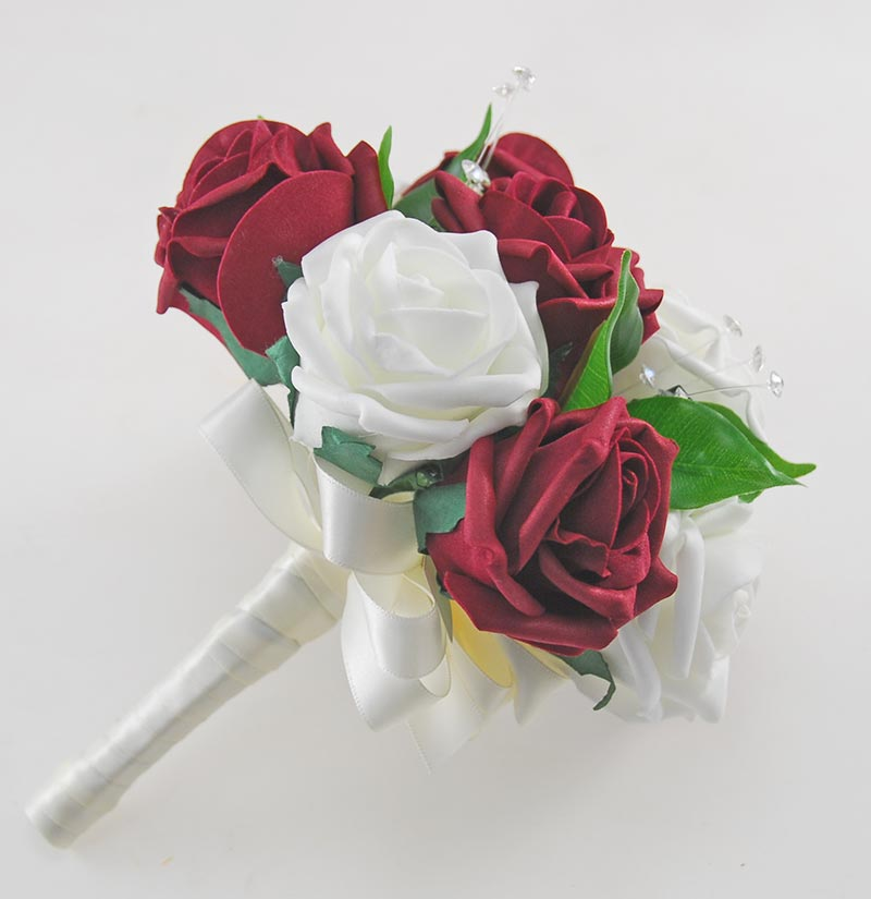 Burgundy & Ivory Foam Rose Crystal Bridesmaids Wedding Posy