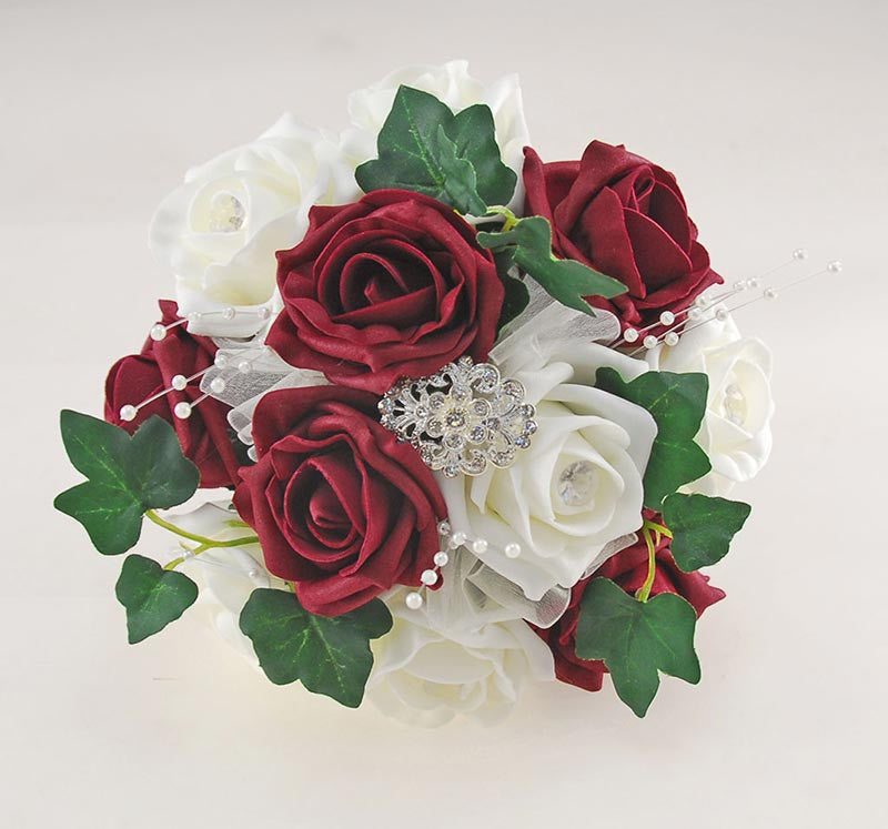 Burgundy & Ivory Rose Bridesmaids Wedding Posy with Diamante Brooch