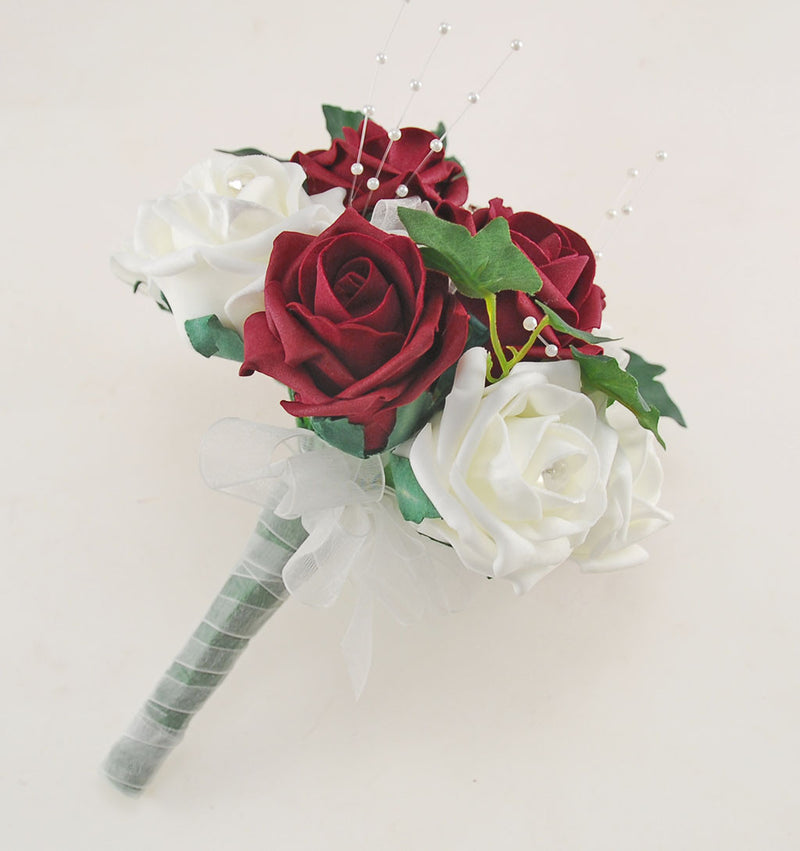Burgundy & Ivory Rose Evie Wedding Shower Package, Brides Shower, Bridesmaids Bouquet, Flower Girl Posy, Wand, Grooms Buttonhole