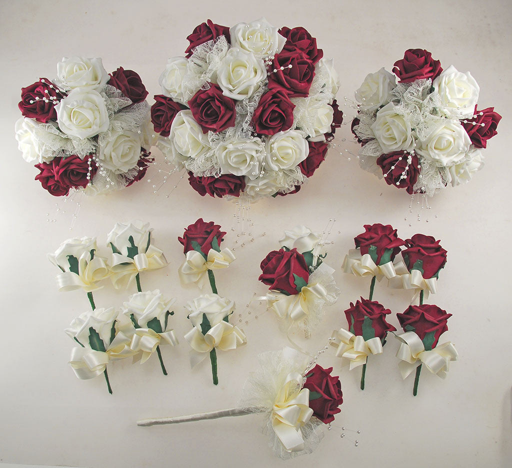 Burgundy and Ivory Rose Wedding Flower Package, Pearl Strands & Lace ...