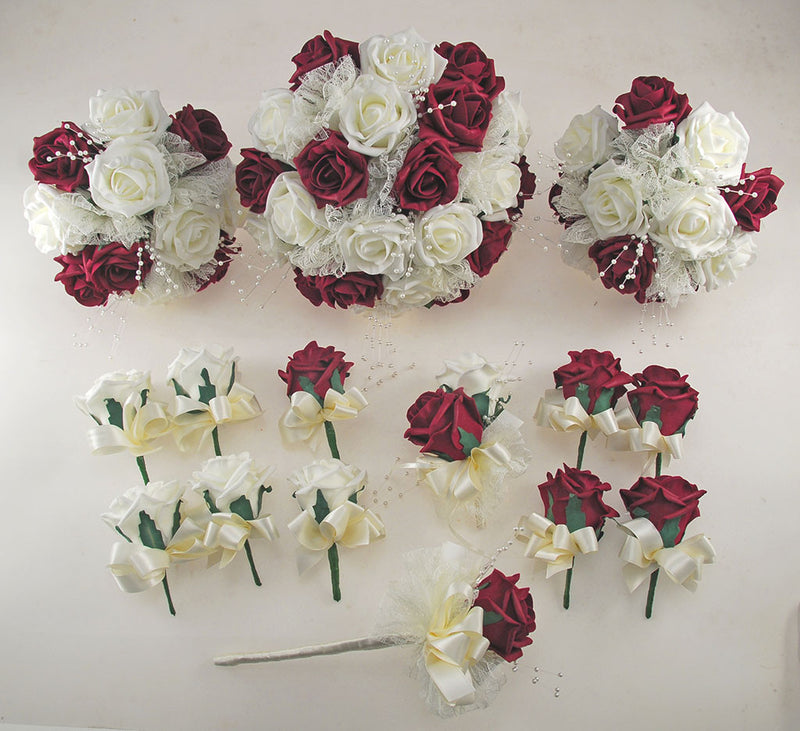Burgundy and Ivory Rose Wedding Flower Package, Pearl Strands & Lace Brides Bouquet, Bridesmaids Posies, Flower Girl Wand, Groom, Guest Buttonholes