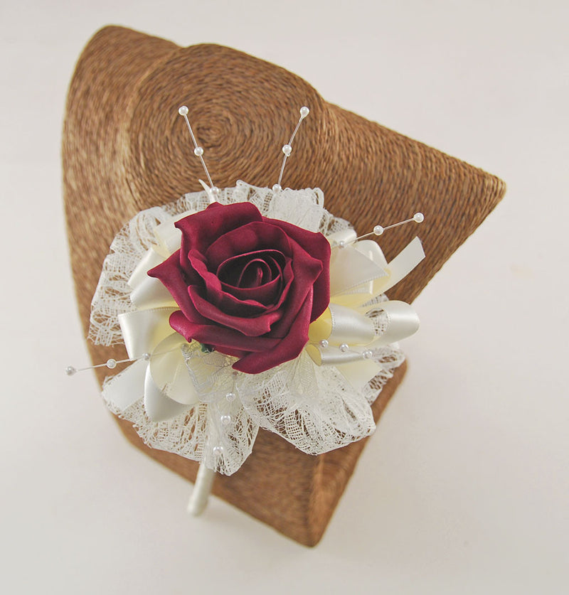 Burgundy Rose Wedding Wand with Lace Bow & Pearl Spray
