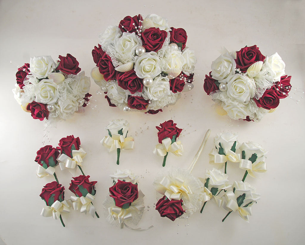 wedding flower package burgundy and ivory foam seashell and pearl wedding 9512