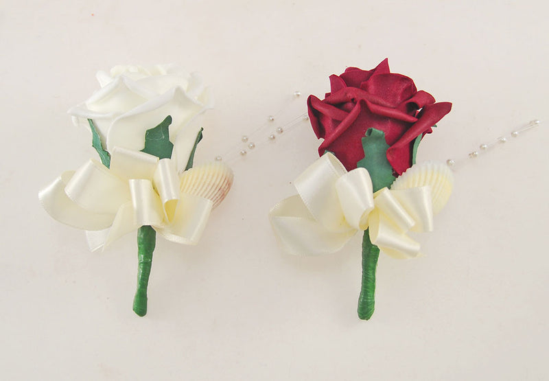 Burgundy and Ivory Foam Rose, Seashell and Pearl Wedding Flower Package with Brides Bouquet, Bridesmaids Posies, Grooms, Mothers, Guest Buttonholes