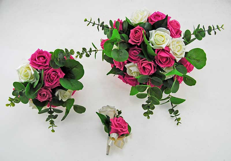 Cerise Pink & Ivory Foam Rose, Green Eucalyptus Dior Wedding Package