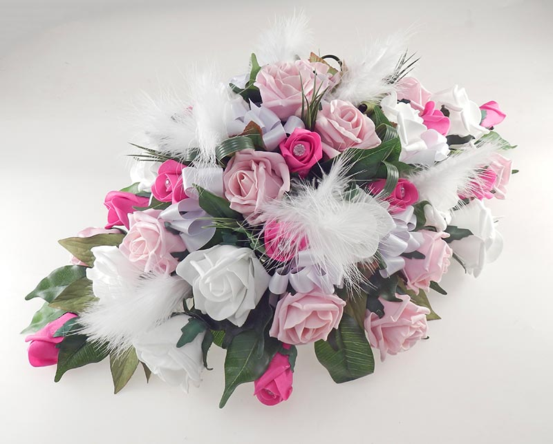 Cerise, Dusky Pink, Ivory Rose & Feather Top Table Wedding Arrangement