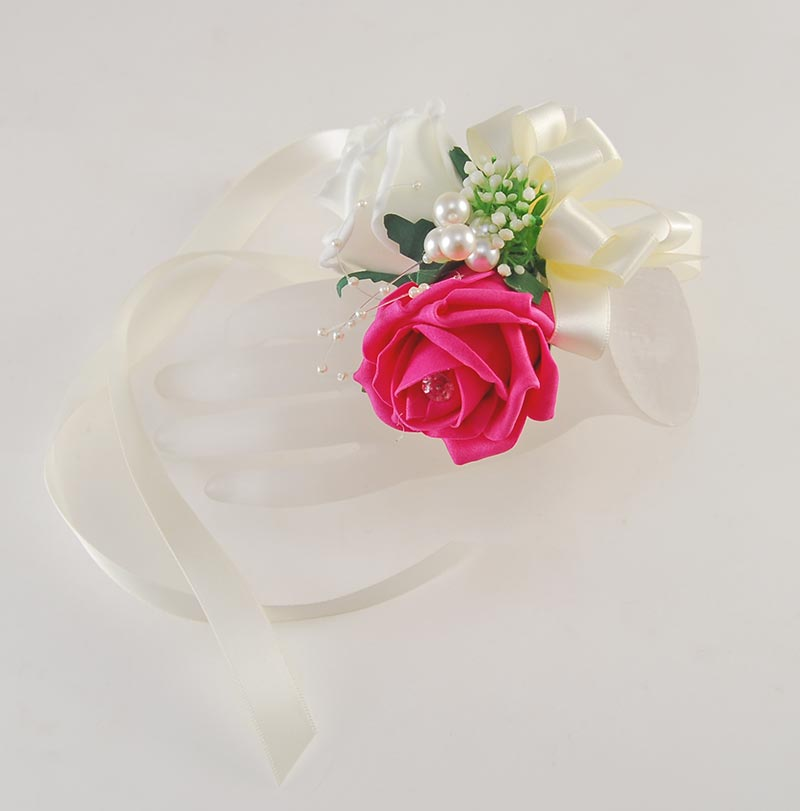 Cerise Pink & Ivory Rose Ribbon Tied Wrist Corsage with Pearls & Gypsophila