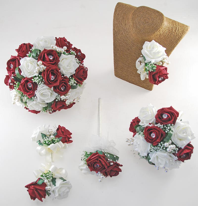 Charlotte Burgundy & Ivory Rose Pearl Loop & Ball Wedding Flower Package