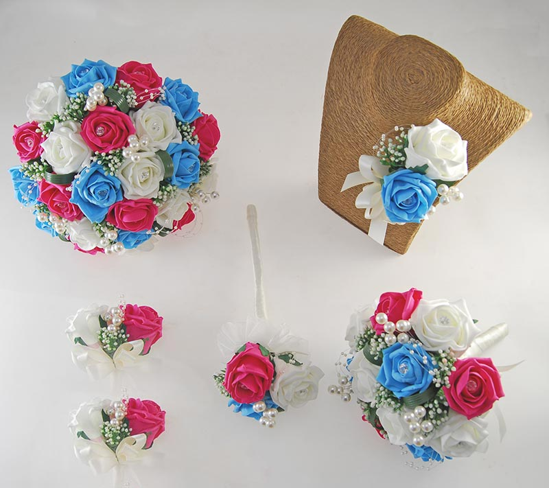 Charlotte Cerise Pink, Turquoise Blue Ivory Rose Pearl Ball Wedding Package
