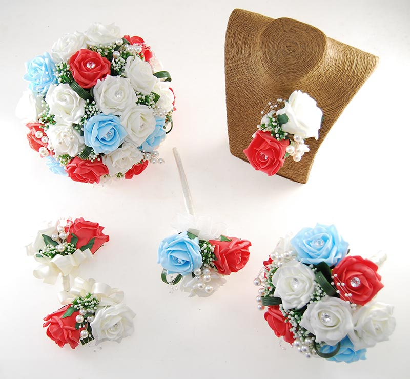 Charlotte Coral, Light Blue & Ivory Rose, Pearl Loop & Pearl Ball Wedding Flower Package