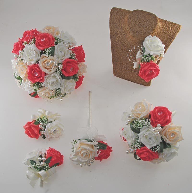 Charlotte Coral Pink, Cream & Ivory Rose Pearl Loop & Ball Wedding Flower Package