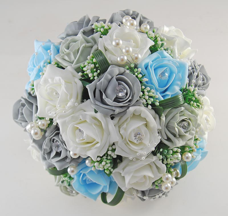 Charlotte Dark Grey, Aqua & Ivory Rose, Pearl Loop & Pearl Ball Wedding Flower Package