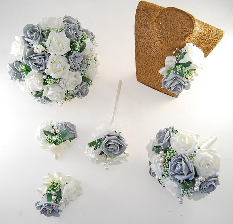 Charlotte Dark Grey & Ivory Rose, Pearl Loop & Pearl Ball Wedding Flower Package