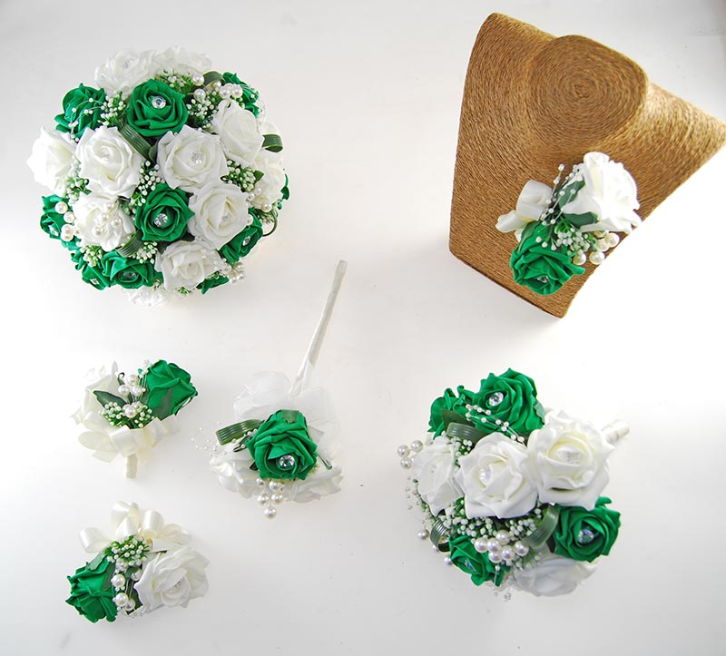 Charlotte Emerald Green & Ivory Rose, Pearl Loop & Pearl Ball Wedding Flower Package
