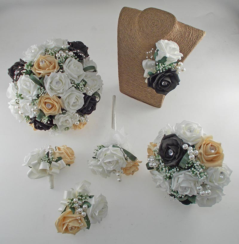 Charlotte Gold, Black & Ivory Rose, Pearl Loop & Pearl Ball Wedding Flower Package