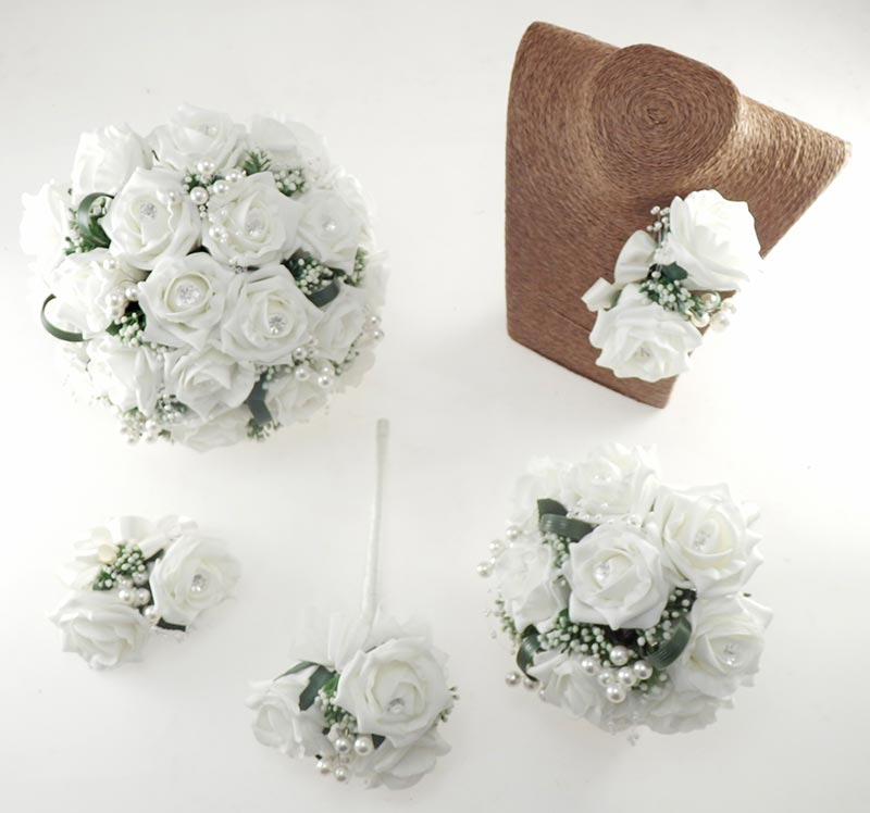 Charlotte Ivory Rose and Pearl Loop & Pearl Ball Wedding Flower Package