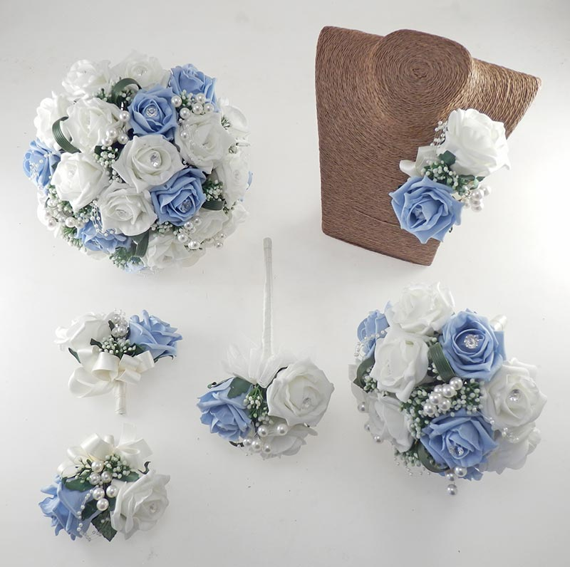 Charlotte Light Blue & Ivory Rose and Pearl Loop & Pearl Ball Wedding Flower Package