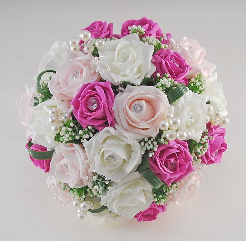 Dark Pink Wedding Flowers: Charlotte Light & Dark Pink, Ivory Rose Pearl Loop & Ball