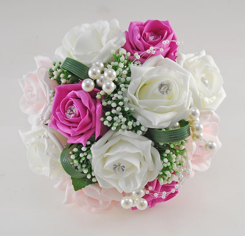 Charlotte Light & Cerise Pink, Ivory Rose Pearl Loop & Ball Wedding Flower Package