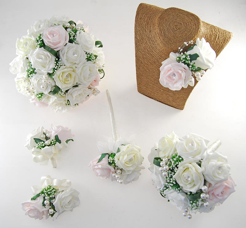 Charlotte Light Pink, Lemon & Ivory Rose, Pearl Loop & Pearl Ball Wedding Flower Package