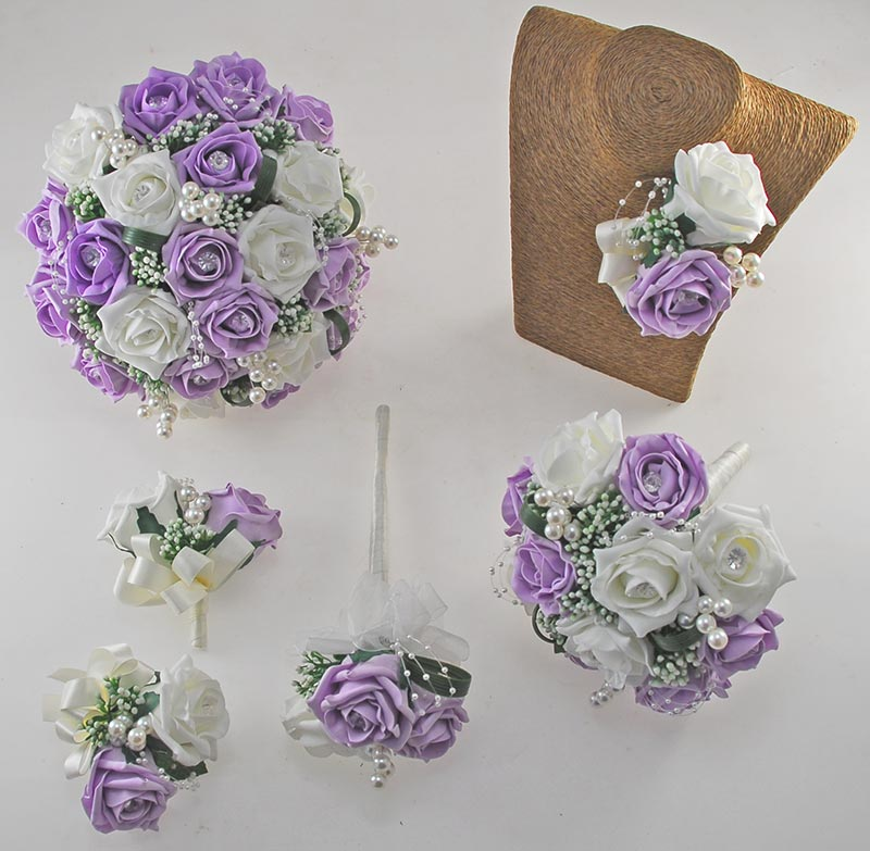 Charlotte Lilac & Ivory Rose Pearl Loop & Ball Wedding Flower Package