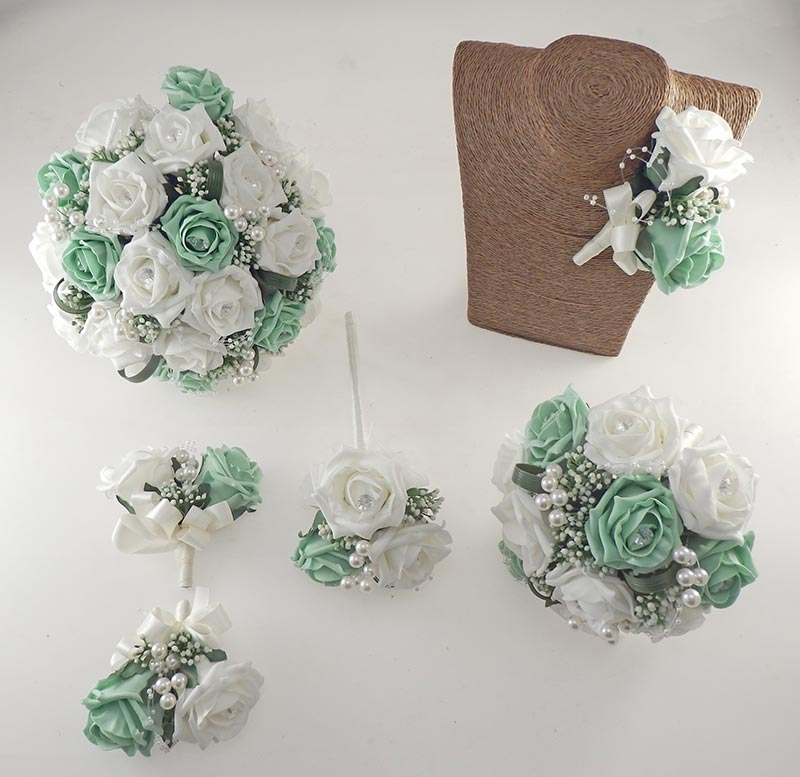 Charlotte Mint Green & Ivory Rose, Pearl Loop & Pearl Ball Wedding Flower Package