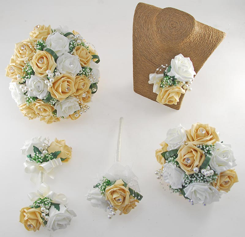Charlotte Pale Gold & Ivory Rose Pearl Loop & Ball Wedding Flower Package