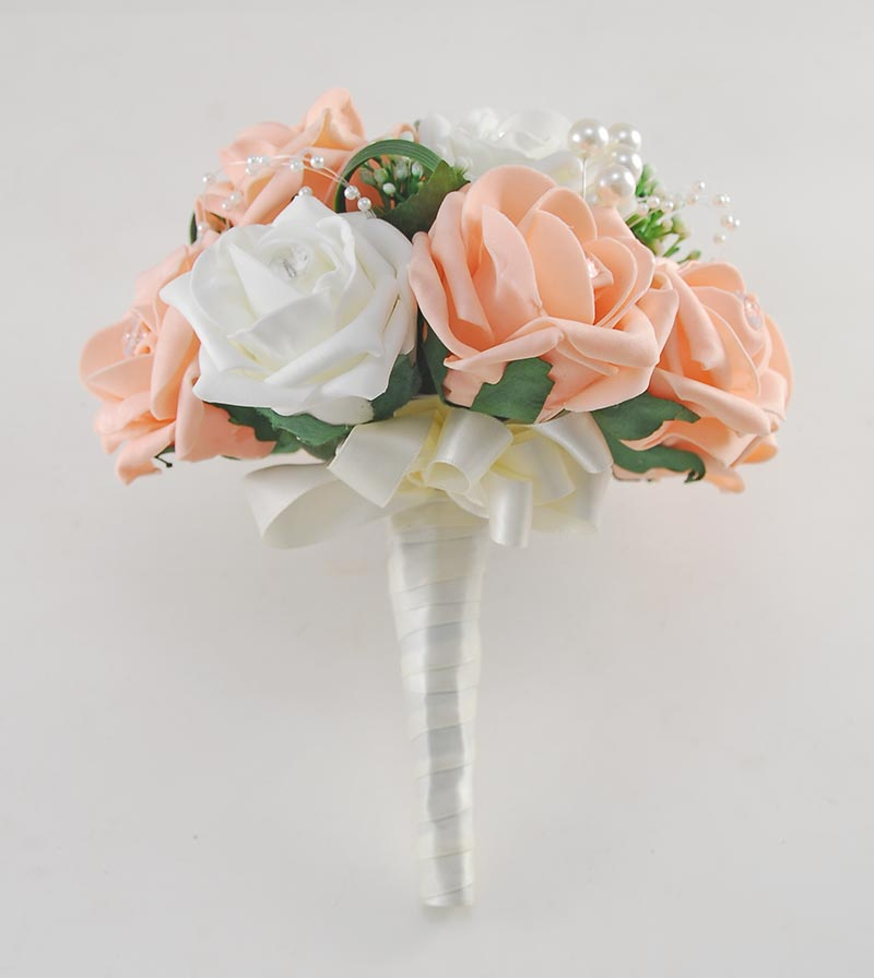 Charlotte Peach & Ivory Rose Pearl Loop & Ball Wedding Flower Package