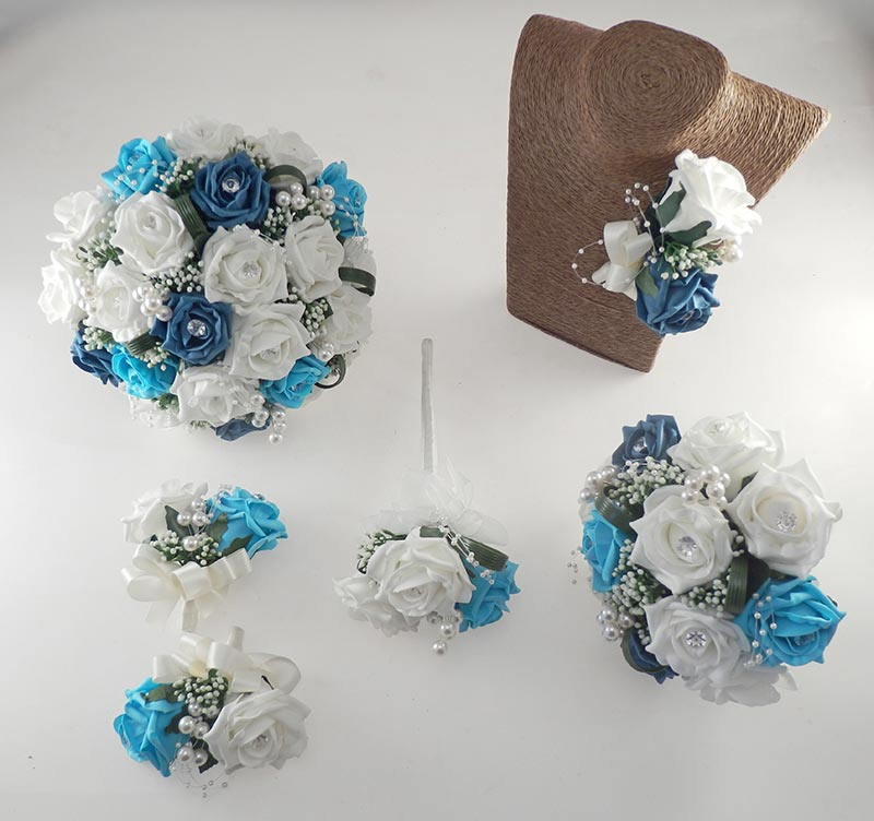 Charlotte Teal, Turquoise & Ivory Rose, Pearl Loop & Pearl Ball Wedding Flower Package
