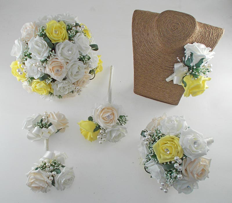 Charlotte Yellow, Cream & Ivory Rose, Pearl Loop & Pearl Ball Wedding Flower Package