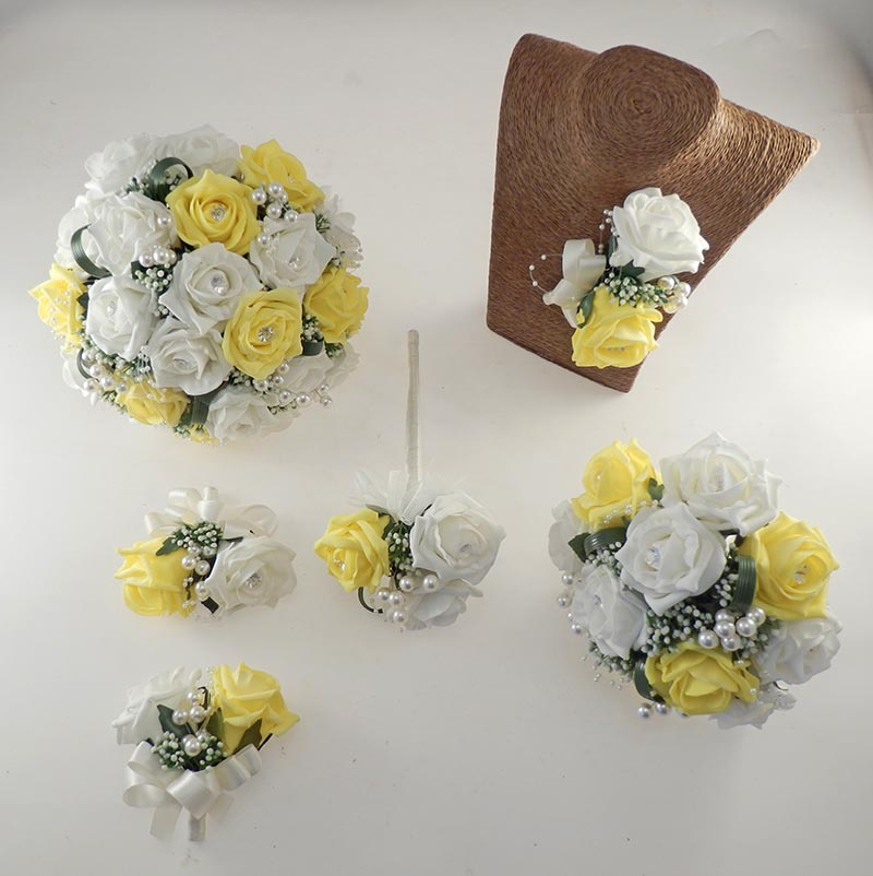 Charlotte Yellow & Ivory Rose, Pearl Loop & Pearl Ball Wedding Flower Package