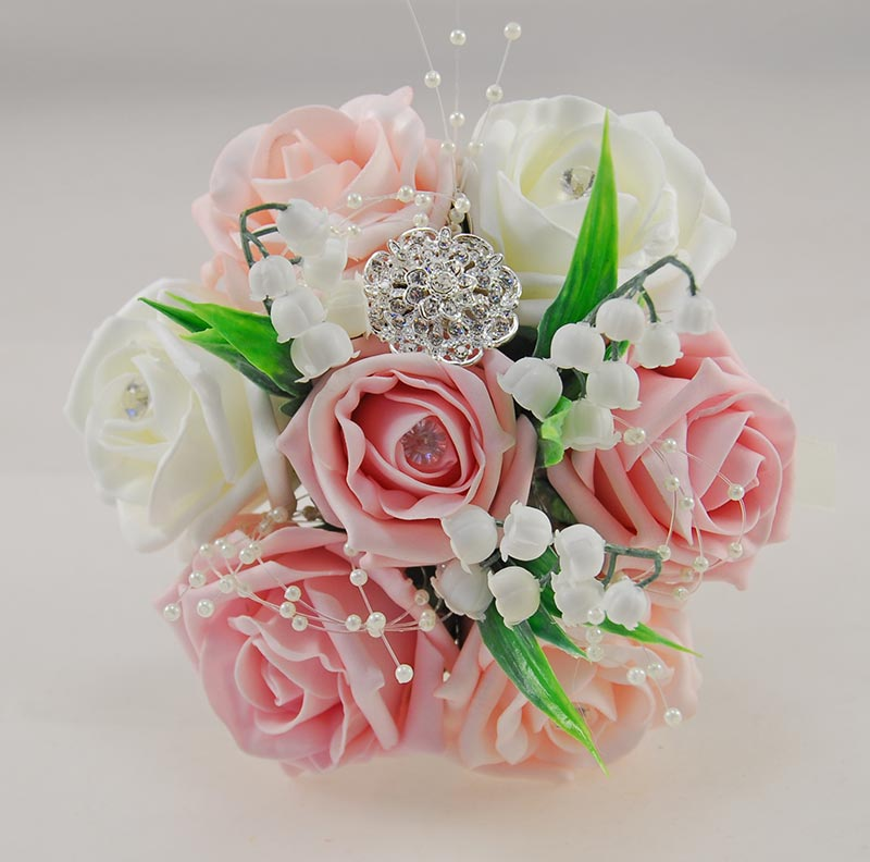 Childrens Dusty Pink, Pale Pink, Ivory Rose & Brooch Wedding Posy