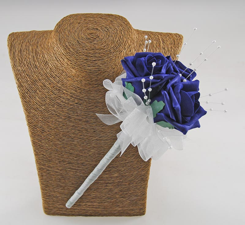 Childrens Navy Blue Triple Rose Wedding Day Wand with Pearls